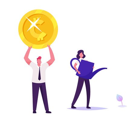Businesswoman with Huge Watering Can Poring Water on Little Plant Sprout, Businessman Holding Huge Golden Coin above Head. Shareholders Growing Finance Wealth Profit Cartoon Flat Vector Illustration