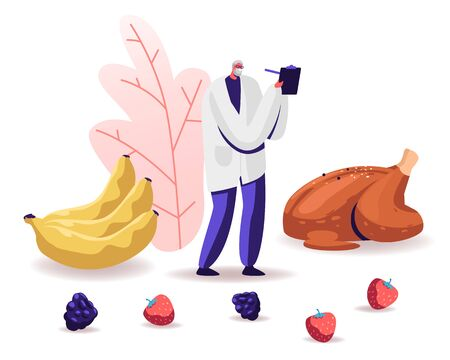 Male Senior Doctor Nutritionist Wearing White Robe Holding Clipboard Stand near Fried Chicken, Bananas and Berries around. Dietology Science, Healthy Nutrition Concept Cartoon Flat Vector Illustration