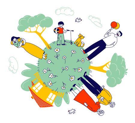 Gran familia feliz de abuelos, padres e hijos en Green Earth Globe con casa y árboles verdes alrededor. Padre sosteniendo globo, madre con pequeño bebé dibujos animados ilustración vectorial plana arte lineal