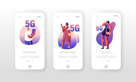 5g Technology Mobile App Page Onboard Screen Set. City Dwellers Using New Generation Networks for Gadgets