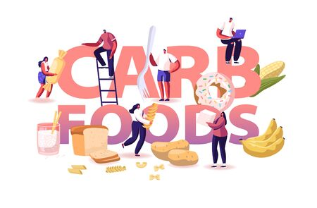 Carb Foods Concept. Tasty and Delicious Diet to Gain Weight with Snacks and Junk. Healthy and Unhealthy Carbohydrate