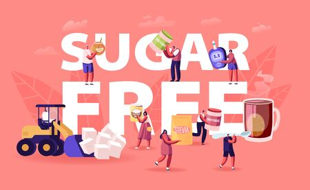 Sugar Free Concept. People Eating Natural Sweeteners Remove Cane Sugar from Nutrition Use Honey, Coconut Extract and Stevia Eco Production Poster Banner Flyer Brochure Cartoon Flat Vector Illustration