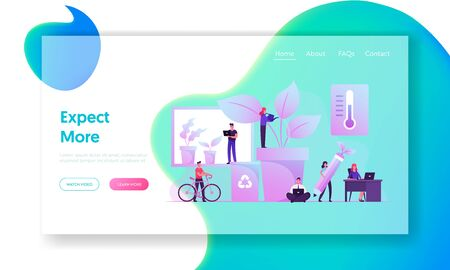 Eco Technologies for Work Website Landing Page. Business People Work in Modern Office with Green Plants Illusztráció
