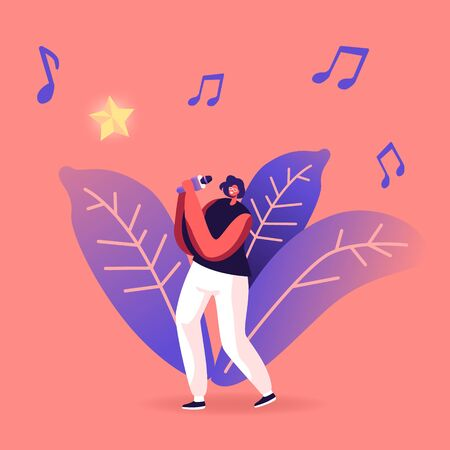 Super Star Singing Song. Woman Cheering and Dancing on Stage Performing Composition in Karaoke Bar. Artist Singing at Music Event or Concert, Corporate Party Leisure. Cartoon Flat Vector Illustration