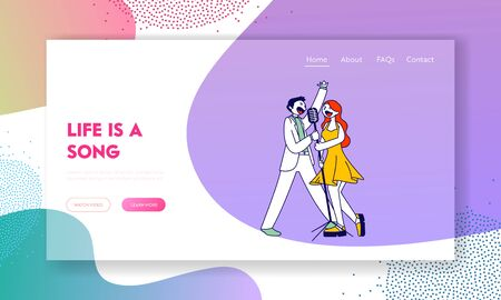 Corporate Party Celebration Website Landing Page. Cheerful Couple Singing Song with Microphone in Karaoke Bar