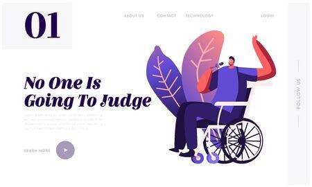 Disabled Character Enjoying Life Website Landing Page. Handicapped Man Sitting in Wheelchair Singing at Karaoke Bar