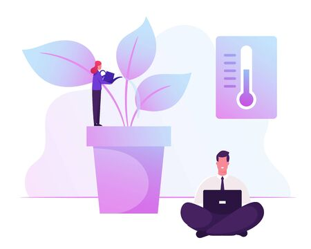 Green Office Concept. Business People Working in Modern Eco-friendly Area. Woman Watering Potted Plants and Flowers
