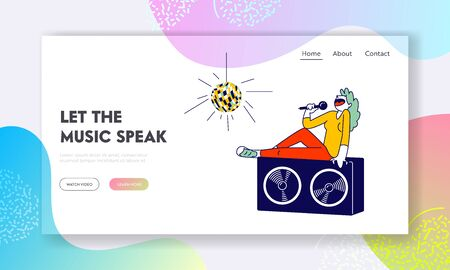 Entertainment Website Landing Page. Woman Sitting on Huge Dynamics on Stage Holding Microphone and Singing Song
