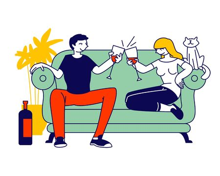 Young Loving Couple Spend Time at Home Sitting on Couch Together Chatting, Drinking Wine with Cat Sitting nearby