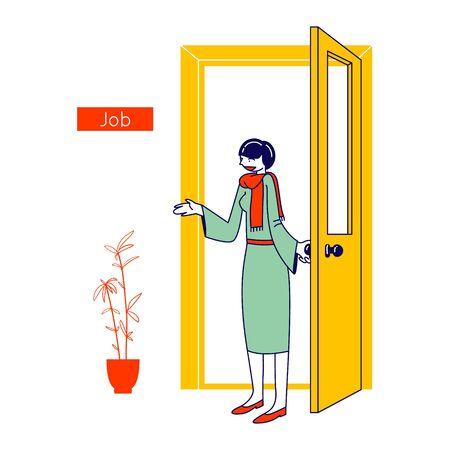 Concept de recherche d'emploi. Businesswoman Company Hiring Manager accueillant un nouvel employé pour entrer dans le bureau