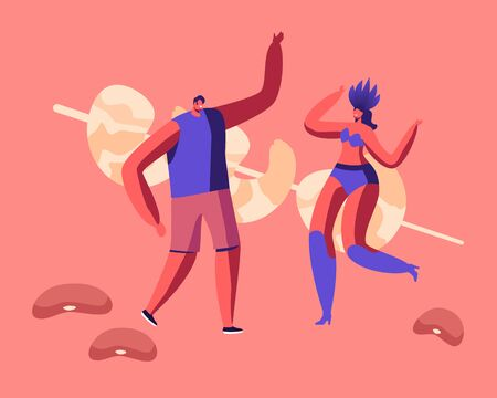 Cheerful Man and Woman Samba Dancer Rejoice and Dancing near Huge Fried Prawns on Stick. Fiesta, Brazilian Food 일러스트