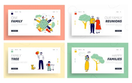 Happy Family on Earth Globe Website Landing Page Set. Old Man and Woman Relations, Mother Father and Little Kids 일러스트