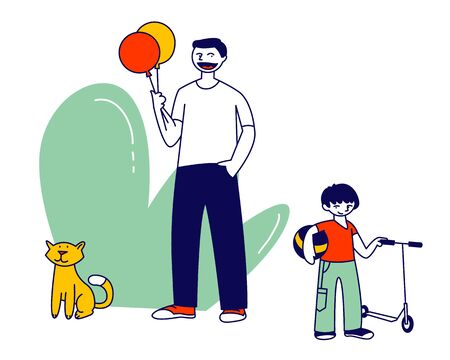 Happy Family of Little Cheerful Boy Walking with Dad Having Fun Outdoors. Father Day Holiday, Summertime Vacation