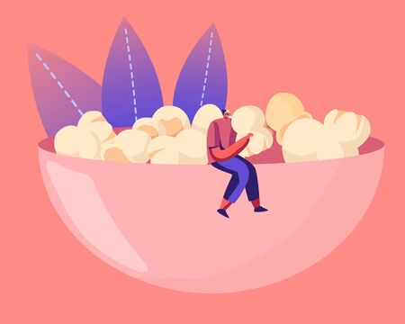 Male Character in Hipster Clothing Sitting on Huge Bowl Full of Pop Corn Enjoying Snack Eating. People Choose Crisp Food