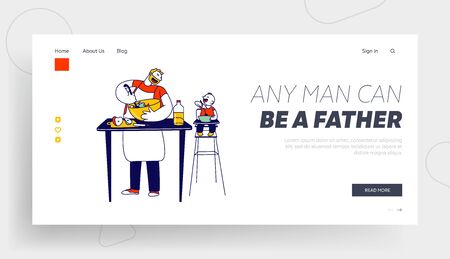 Happy Family Routine and Sparetime Website Landing Page. Single Father Cook Dinner on Kitchen, Little Baby Son 일러스트