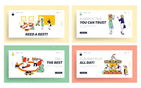 Babysitting Work with Infant Babies, Amusement Park Website Landing Page Set. Women Care of Children in Kindergarten