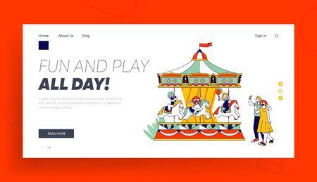 Amusement Kids Zone Website Landing Page. Happy Children Riding Merry-go-Round Entertainment Carousel in Park 일러스트