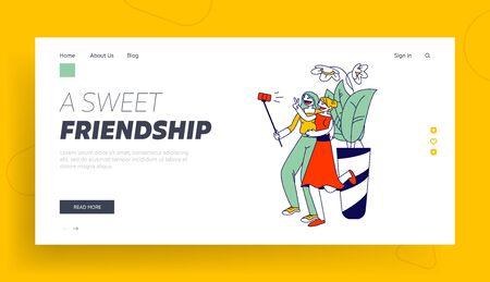 Girlfriends Meeting Website Landing Page. Young Girls Making Selfie on Smartphone Women Walking, Female Characters