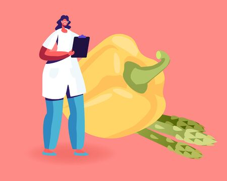 Female Doctor Nutritionist Wearing White Robe Holding Clipboard Stand front of Huge Bell Pepper and Green Beans