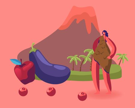 Cave Woman in Animal Skin Stand near Fruit and Vegetable on Volcano Background. Paleo Diet Concept. Dietary Plan  イラスト・ベクター素材