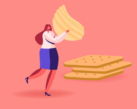 Tiny Female Character Carry Huge Corrugated Potato Chips Passing by Pile of Cookies Crackers. Snack, Fast Food