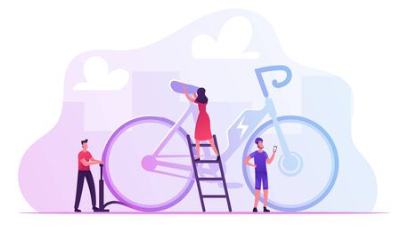 Tiny Male and Female Characters Maintenance Huge Electric Bike for Sportsman Driving. People Use Modern Bicycle Illustration