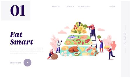 Ketogenic Diet Website Landing Page. Characters Set Up Pyramid of Selection of Good Fat Sources, Low-carb Food  イラスト・ベクター素材