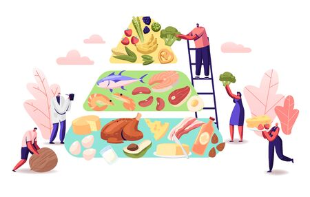Ketogenic Diet Concept. Characters Set Up Pyramid of Selection of Good Fat Sources, Balanced Low-carb Food Vegetables 일러스트