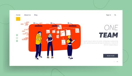 Scrum Task Board Team Work Mind Map Website Landing Page. People Sticking Papers on Big Organizer Workwall Planning Analyzing Working Process Web Page Banner Cartoon Flat Vector Illustration, Line Art Illustration