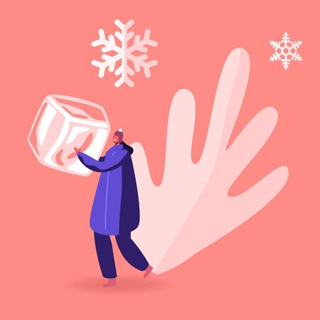 Cheerful Female Character in Winter Coat and Hat Holding Huge Ice Cube in Hands with Falling Snow Flakes around. Concept of Frozen Food, Saving and Freezing Products Cartoon Flat Vector Illustration