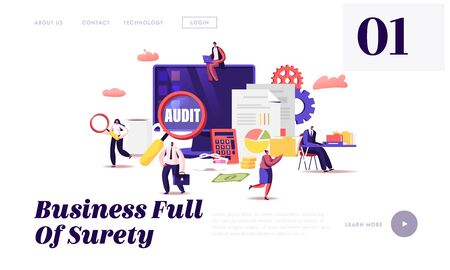 Financial Administration and Audit Website Landing Page. Analysis, Statistics and Business Statement. Accounting Report Auditing Tax Process Paperwork Web Page Banner. Cartoon Flat Vector Illustration Ilustracje wektorowe