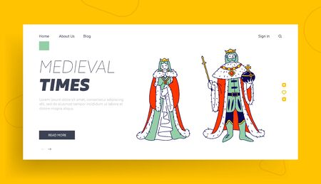 Medieval Royal Family Members King and Queen in Costumes Website Landing Page. Ancient Historical Kingdom or Fairy Tale Fantasy Characters Web Page Banner. Cartoon Flat Vector Illustration, Line Art
