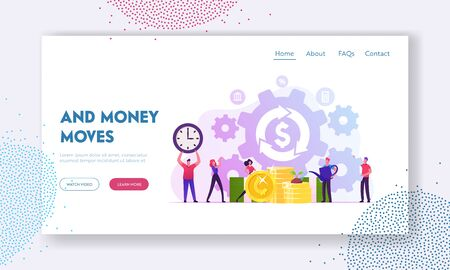 Debt or Mortgage Refinance Website Landing Page. Tiny People around Dollar Sign in Loop Arrow Growing Plant on Golden Coins and Moving Huge Cogwheels Web Page Banner. Cartoon Flat Vector Illustration 일러스트