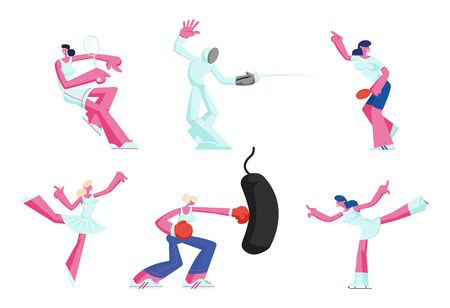 Set of Female Characters Gaining Sports Activity. Young Women Playing Tennis, Fencing Tournament, Figure Skating, Box Training Isolated on White Background Cartoon Flat Vector Illustration  イラスト・ベクター素材