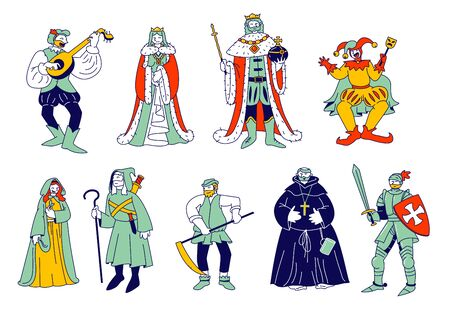 Set of Medieval Historical Characters. Royal Queen and King, Monk Bard Singer Knight, Peasant in Historic Costumes Fairytale Ancient Heroes Isolated on White Cartoon Flat Vector Illustration, Line Art