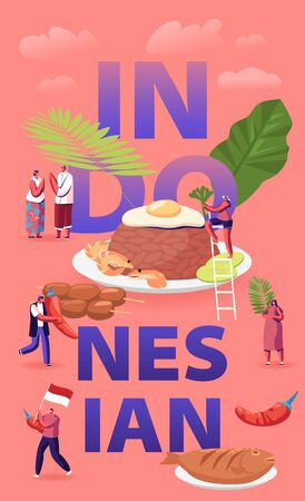 Indonesian Cuisine Concept. Tiny Male and Female Characters Tourists and Native Dwellers Eating and Cooking Traditional Malaysian Meals Poster Banner Flyer Brochure. Cartoon Flat Vector Illustration Vektorové ilustrace
