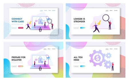 People Try to Memorize Password, Loan Refinance Website Landing Page Set. Happy Person Run with Key Remember Pin Code for Account, Debt Restructuring Web Page Banner. Cartoon Flat Vector Illustration
