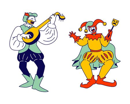 Medieval Characters Minstrel and Buffoon Isolated on White Background. Funny Carnival Show or Fairy Tale Personages, Ancient Fair Market Comic Persons, Cartoon Flat Vector Illustration, Line Art