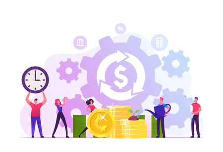 Debt or Mortgage Refinance Concept. Tiny People around Dollar Sign in Loop Arrow Growing Plant on Golden Coins and Moving Huge Cogwheels Saving Budget Money and Time Cartoon Flat Vector Illustration 일러스트