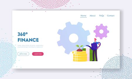 Investment, Refinance Debt, Income Website Landing Page. Business Man Watering Plant Growing on Golden Coins Pile with Cogwheels around. Money Wealth Web Page Banner. Cartoon Flat Vector Illustration