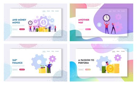 Refinance, Saving Budget, Money Refund Stock Market Website Landing Page Set. People Growing Wealth. Cogwheel Mechanism Processing, Time Management Web Page Banner. Cartoon Flat Vector Illustration