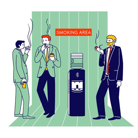 Smoking Addiction and Bad Unhealthy Habit Concept. Male Characters, Office Employee Stand at Water Cooler Drinking Coffee and Smoke Cigarettes Social Problem Cartoon Flat Vector Illustration, Line Art