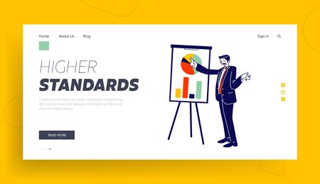 Business Trainer Giving Financial Consultation Website Landing Page. Coach Conduct Meeting Stand at Whiteboard with Data Analysis Charts Web Page Banner. Cartoon Flat Vector Illustration, Line Art
