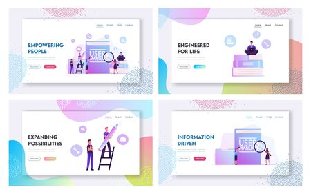 User Manual Instructions or Guidance Booklet Website Landing Page Set. Customer Support Center, People Writing Requirements Specifications Documents Web Page Banner. Cartoon Flat Vector Illustration