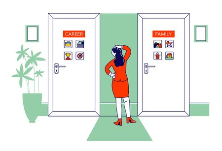 Female Character Stand front of Two Doors with Career and Family Inscription. Modern Woman Making Choice in Life Go to Business or Stay at Home as Housewife Cartoon Flat Vector Illustration, Line Art Ilustração
