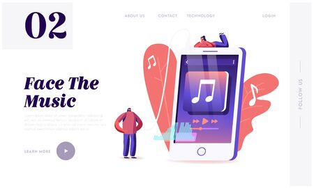 Young People Listen Music on Mobile Phone Website Landing Page. Characters Wearing Headphones Enjoying Sound Composition, Dancing and Relaxing Web Page Banner. Cartoon Flat Vector Illustration 일러스트