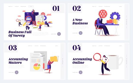 Audit Consulting for Company Website Landing Page Set. Auditors Check Sum Documents, Bank Accounts for Financial Project Management Accounting Balance Web Page Banner. Cartoon Flat Vector Illustration