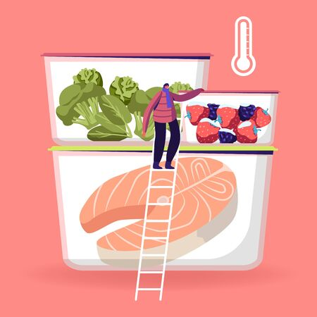 Tiny Male Character Wearing Winter Clothing and Scarf Stand on Ladder near Refrigerator Containers with Different Frozen Food, Fresh Berries, Vegetables and Fish Cartoon Flat Vector Illustration