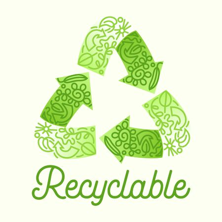 Recyclable Package Concept. Recycle Symbol Three Green Circulate Arrows with Doodle Drawings.