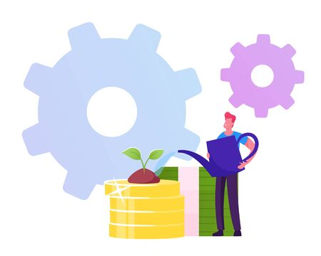 Investment, Refinance Debt, Banking Income Concept. Business Man Watering Plant Growing on Golden Coins Pile with Cogwheels around. Character Planting Money Wealth Cartoon Flat Vector Illustration 일러스트
